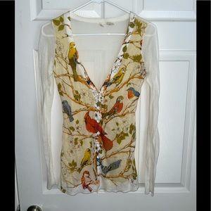 Rare Moth Anthropologie sheer button down blouse